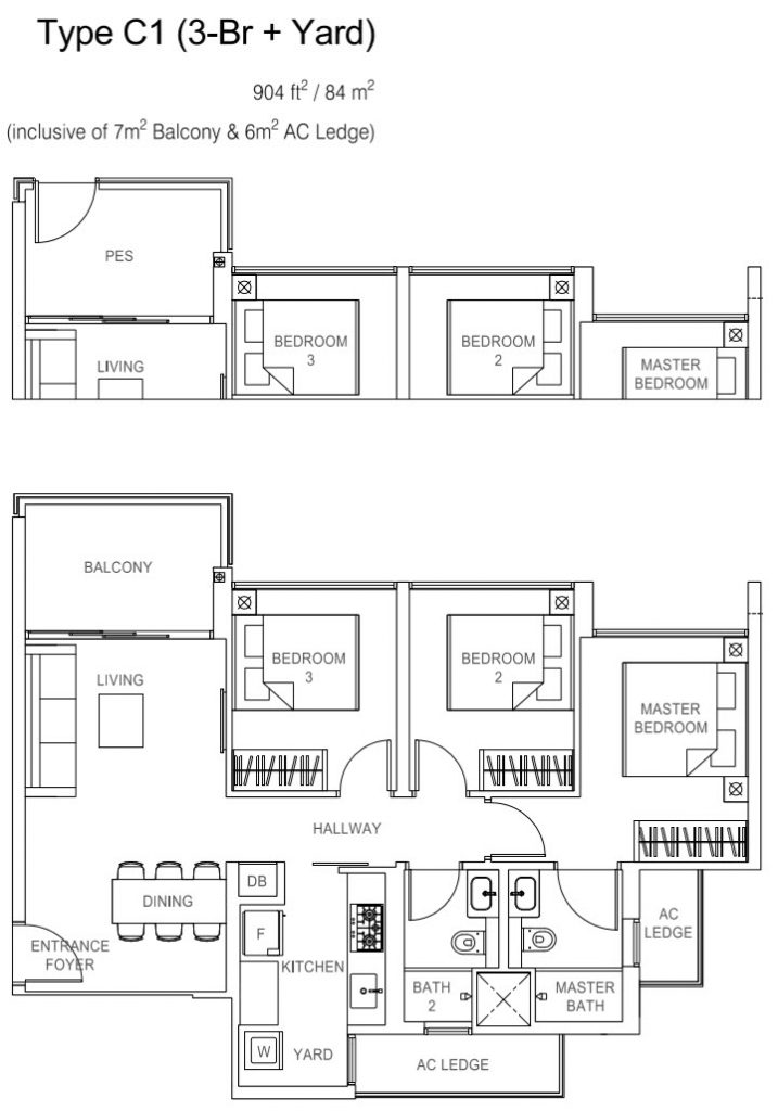 Rivercove Residences EC Floor Plan - C1