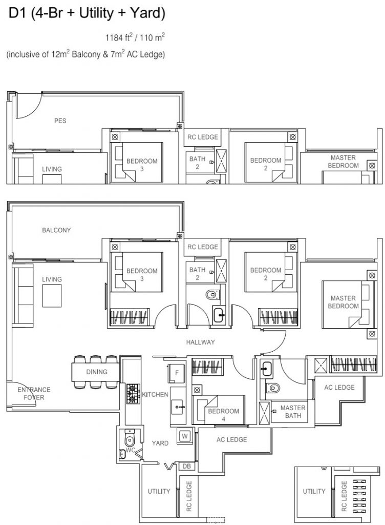 Rivercove Residences EC Floor Plan - D1